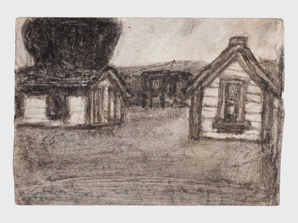 James Castle Soot Drawing of Out Buildings