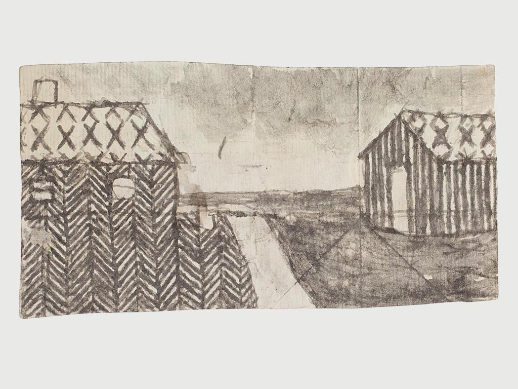 James Castle Soot Drawing of Barn