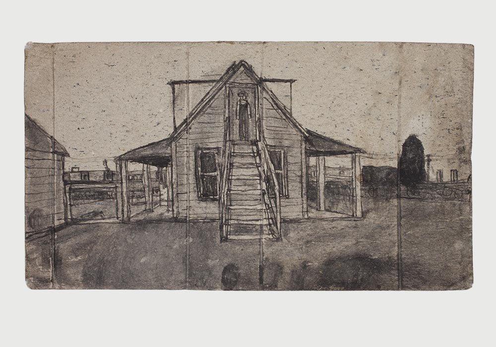 James Castle - Man in Doorway Drawing